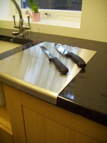 Tagliere proteggi piano di lavoro, con bordo arrotondato, in acciaio INOX, 500 x 500 mm, con piedini antiscivolo in gomma