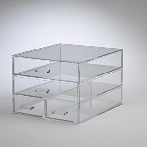 Clear Acrylic Cosmetic Organizer, 2 Large & 2 Small Drawers