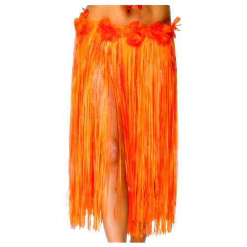 Smiffy's Women's Hawaiian Hula Skirt with Flowers and Velcro Fastening 29 Inches, Orange, One Size - 1