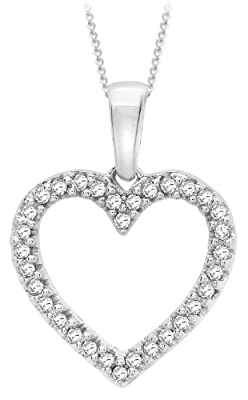 "Carissima 9ct White Gold 0.10ct Diamond Open Heart Pendant on Curb Chain Necklace 46cm/18"""