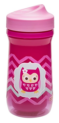 Zak! Designs Toddlerific Perfect Flo Toddler Cup with Pink Owl, Double Wall Insulated Construction and Adjustable Flow Technology, Break-resistant and BPA-free Plastic, 8.7oz. - 1