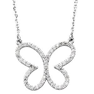IceCarats Designer Jewelry 14K White Gold 14K White 1/3 Ctw Diamond Butterly 16 Necklace 16.00 Inch