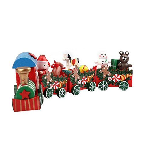 Gillberry 4 Pieces Wood Christmas Xmas Train Decoration Decor Gift (Multicolor)