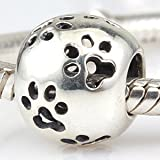 Paw Print Cut-Outs - Sterling Silver Charm Bead - fits Pandora, Chamilia etc style Bracelets - SpangleBead