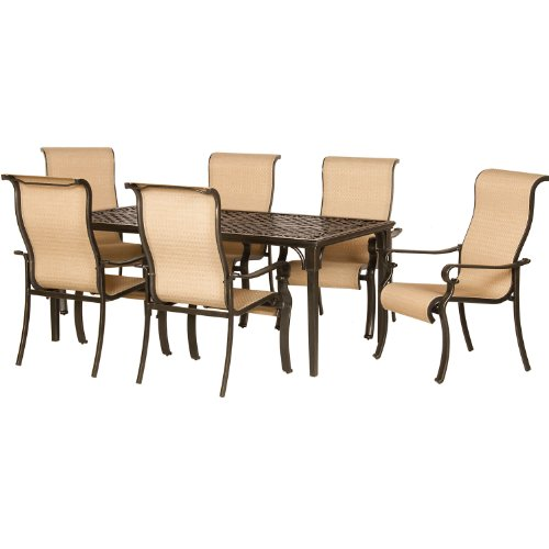Hanover ODBR-7PC-SL-AL Brigantine 7-Piece Outdoor Dining Set, Brown/Tan picture
