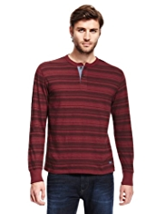 North Coast Pure Cotton Henley Neck Tonal Striped T-Shirt