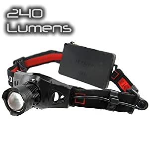 Zoomable Q5 240 Lumens High Power Cree Led Light Head Torch (AAA)