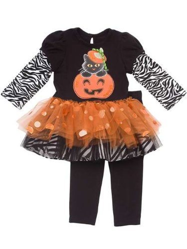 Rare Editions Baby-girls Pumpkin Halloween Tutu Dress Outfit with Leggings Set