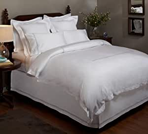 Pinzon Hotel Stitch 400-Thread-Count 100-Percent Egyptian Cotton Sateen Duvet Cover, King, White with Silver Blue Stripes