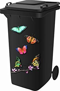 Wheelie Bin Self Adhesive Sticker Kit, Butterfly Design