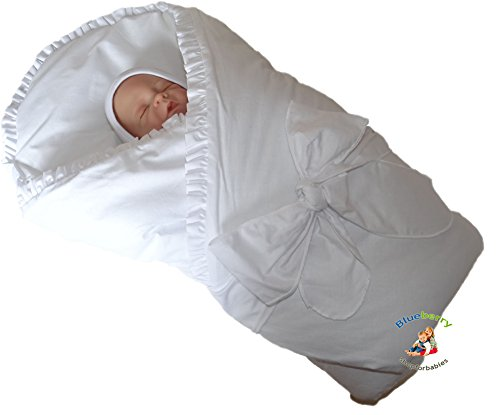 Blueberry Shop Luxury Warm Newborn Swaddle Wrap Blanket Duvet Sleeping Bag Satin Cotton White