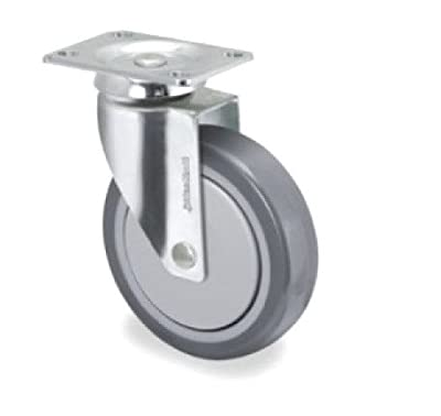 """Med Caster Stainless Steel Swivel Plate Caster Rating 190 lb with 4"""" TPR Wheel"""