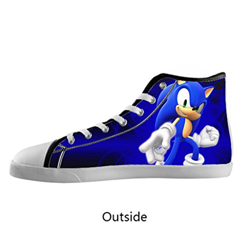 Custom Sonic the Hedgehog Men's High Top Canvas Sneaker Fashion Shoes US11 Black (Sonic The Hedgehog Sneakers)