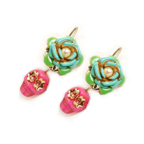Sweet Romance Calavera Rose Earrings (Pink)