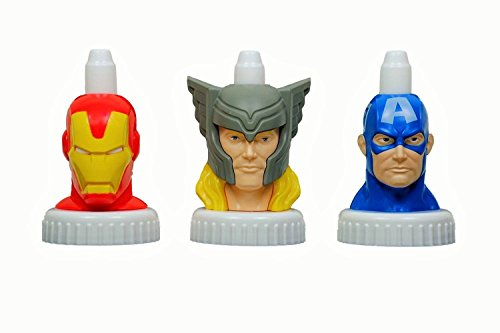 good2grow spill-proof bottle toppers 3-pack, Marvel - Captain America, Thor, Iron Man