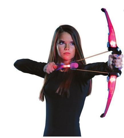 Youth Bow And Arrow Set--Air Huntress Firetek Bow, Pink Youth Bow-It Comes equipped with a loop-and-launch technology and an LED-activated power grip for an action-packed, almost realistic playtime experience*Fast-load, soft foam, long-range arrows shoot over 125 feet*youth compound bow-includes 1 LED power bow and 3 Zonic Blaze whistling arrows-Glow In The Dark-This fun toy helps fire up a child's imagination-Guaranteed! by Firetek Bow