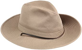 349898a226166 Dorfman Pacific Men s 1 Piece Garment Washed Twill Safari Hat With Side  Snaps
