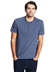 Pure Cotton Henley Neck Feeder Striped T-Shirt with StayNEW™
