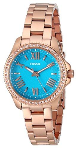Fossil AM4584 - Orologio da polso da donna, cinturino in acciaio inox colore oro rosa