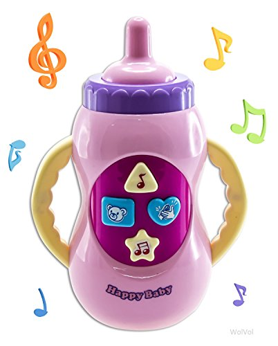 WolVol Pink Musical Toy Bottle with Light and Songs, Batteries included - 1