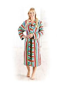 hochwertiger damen bademantel leichtvelours streifen leichter morgenmantel kimono in 100. Black Bedroom Furniture Sets. Home Design Ideas