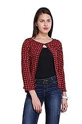 New Sierra women red Crepe checks potli button fitted shrug
