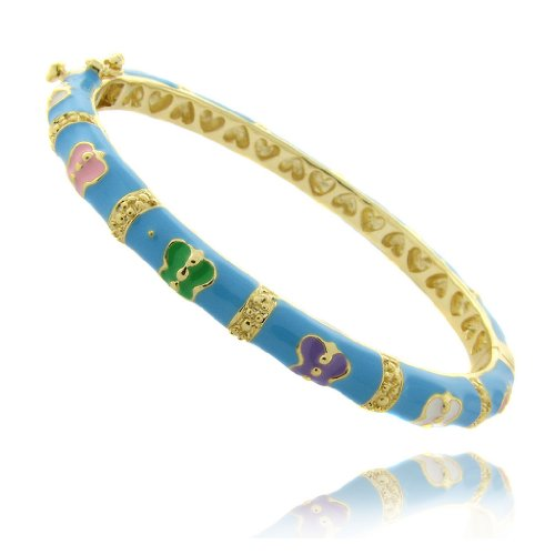 Lily Nily 18k Gold Overlay Turquoise Enamel Multi Colored Butterfly Design Children's Bangle