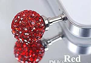 ZA eShop Luxury Colorful Diamond Studded Earphone Anti Dust plug Cap for any 3.5mm Mobile Red