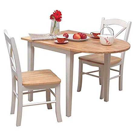 3 Piece Dining Room Set Furniture for 2, White/natural