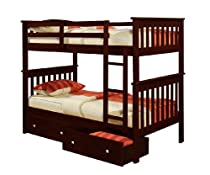 Hot Sale Bunk Bed Twin over Twin Mission Style in Cappucino with Drawers