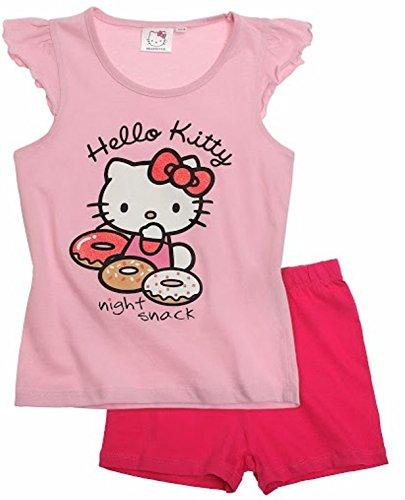 Hello Kitty Pyjama 2016 Kollektion 98 104 110 116 122 128 134 140 Schlafanzug Kurz Mädchen Shorty Shortie Kurz Rosa Donuts (110 - 116)