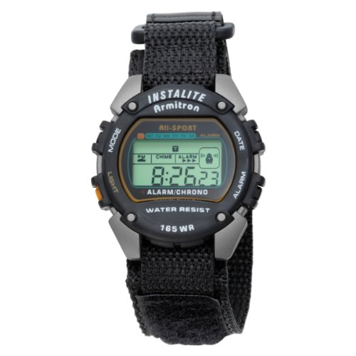 Armitron Men's 40-6623BLK Chronograph Instalite Black Digital Sport Watch