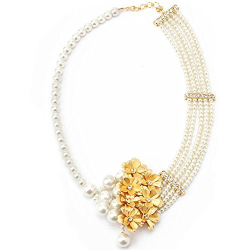 Aarya 24kt Gold Foil Flower Necklace With Pearl For Women