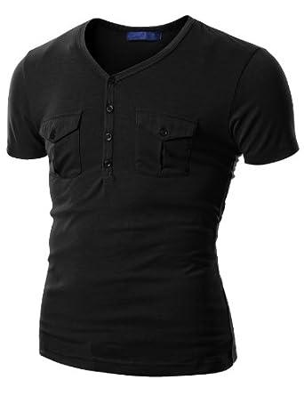 Doublju Mens Short Sleeve T-shirts with Patched Pocket BLACK (US-S)