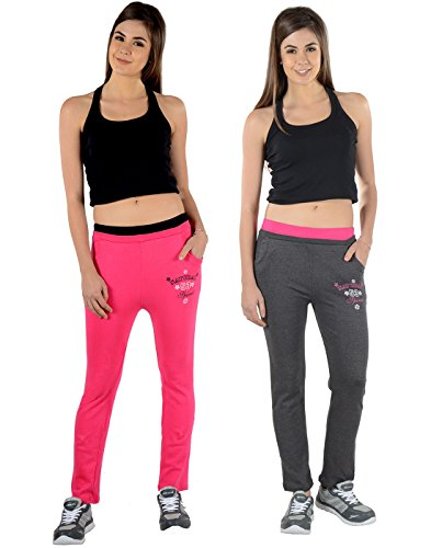 2Day Women's Solid Cotton Track Pants Fushia/Dark Grey (Pack Of 2)