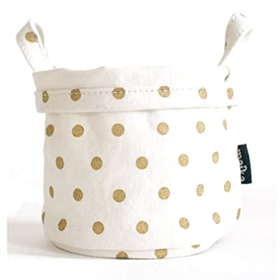 Maika Canvas Bucket, Dots Gold, Small