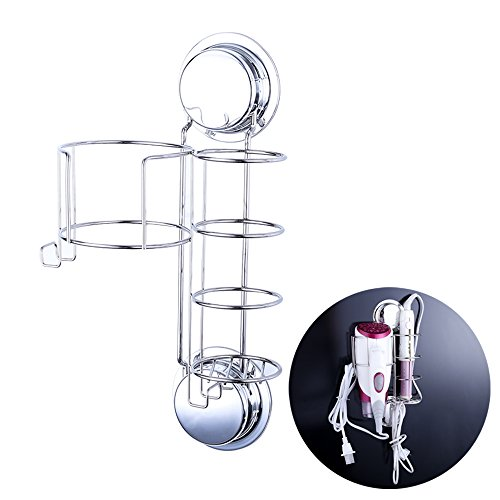 Ecoart Hair Dryer and Straightener Holder with Hooks, Suction Cups or Screws for Wall Mount, Stainless Steel (Flat Iron Holder For Wall compare prices)