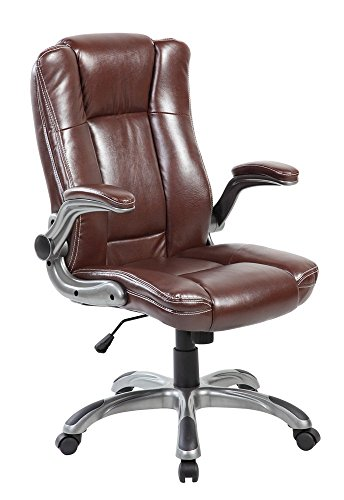 Modern High Back Leather Executive Swivel Reclining Computer Office Chair with Flip-Up Arms, Brown Leather Adjustable Arms
