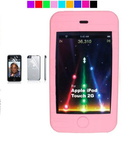 Apple Ipod touch 16GB 32GB 64GB 3rd generation 2nd generation New Ipod Touch silicone skin + Screen Protector (11 colors available) (Baby Pink)