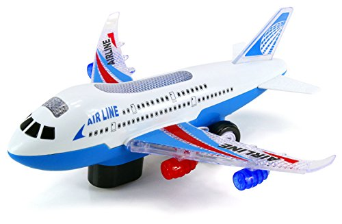 Airliner A380 Battery Operated Bump and Go Toy Plane w/ Flashing Lights, Music (Colors May Vary) (Battery Operated Helicopter compare prices)