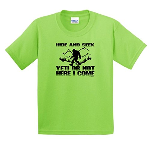 Hide And Seek Yeti Or Not Here I Come, Sasquatch Youth T-Shirt Large Lime
