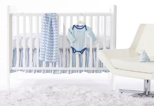 SwaddleDesigns 5 Piece Lightweight Crib Bedding Set with Crib Skirt, True Blue, 0-3months