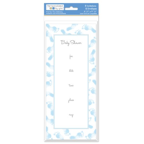 The Paper Company, 2009191, Pby Blue Baby Feet 10 Invite front-1015693