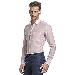 Edjoe Mens Baby Pink Solid Slim Fit Formal Shirt, BLEDMS0001 [Apparel]