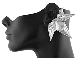 Ladies Silver Abstract Shape Stud & Ear Cuff
