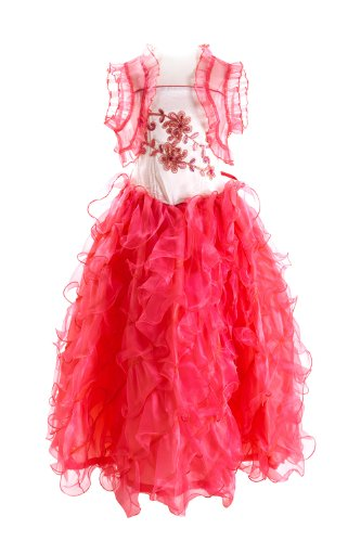 Coral Girls Ruffled Organza Party Mesh Dress Stone Set Flower Front