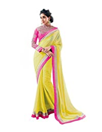 Janasya Yellow Color Saree With Heavy Embroidery Blouse Piece.