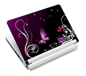 wortek® Universal Notebook Skin für Laptops, Ultrabooks & Netbooks bis ca. 10,2 Zoll - Schmetterling Ranke Schwarz Lila