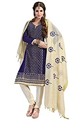 RoyalBlue & Cream Embroidered Chanderi Silk Dress Material