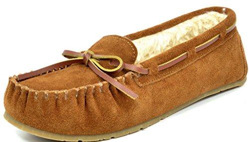 DREAM PAIRS SHOZIE-01 New Women's Winter Faux Fur Comfort Soft Slip On Lady Slipper Flats Shoes TAN SIZE 9